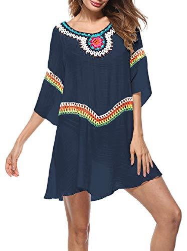 Vestido Etnico Mujer Verano Tallas Grandes Boho Hippie Caftan de Playa Kaftan Dress Fiesta Tunica Asimetrica Vestidos Hombros Fuera Manga 3/4 con Flores Bordadas Crochet Pareos de Baño Bikini Cover Up