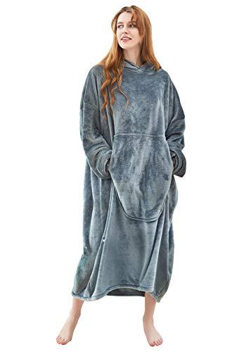 Fomoom Blanket Hoodie, Oversized Sweatshirt Wearable Fleece Flannel Blanket with Large Front Pocket for Adults, Men, Women, Teens (Dark Grey, Adult)