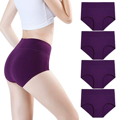 wirarpa Women's High Waist Bamboo Modal Knickers Ladies Ultra Soft Pants Underwear Full Briefs Purple 4 Pack Size 12-14