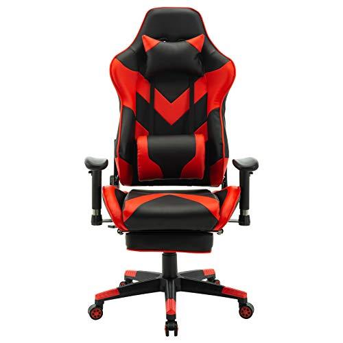 Lestarain Racing Gamingstuhl Bürostuhl Schreibtischstuhl ergonomischer Computerstuhl mit einstellbaren Armlehnen,Kunstleder höhenverstellbar mit Ledenkissen Kopfstütze Fußstütze Rot
