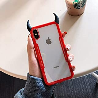 NiceGuu Luxury Cute 3D Devil Horn Transparent Acrylic Soft Phone Case for iPhone 7 8 Plus X XS XS MAX XR Ultra-Thin Cover Case (E, for iPhone 7 8)