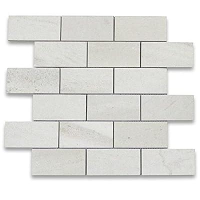 Moleanos Beige Limestone Subway Brick Mosaic Tile 2 x 4 Honed