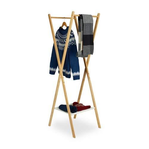 Relaxdays 10020268 kledingrek, opvouwbaar, bamboe, 2 kledingstangen, stoffen vak H x B x D: 156 x 50 x 50 cm, naturel