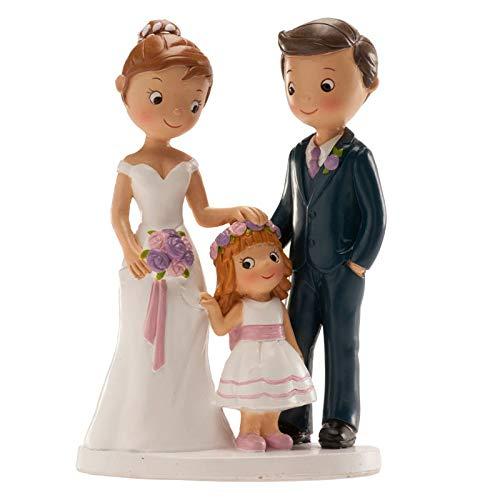 Figura boda PERSONALIZADA novios CON HIJA tarta figuras GRABADAS niña