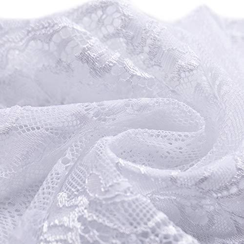 Ldawy Tela de encaje, cinta de encaje, 18x1000 cm Rollo de encaje floral vintage para coser bodas nupciales Navidad Pascua festoneado Bordado Bordado Decoración Tarjetas Manualidades DIY (blanco)