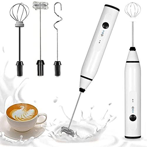 Batidor de huevos eléctrico de 3 velocidades, herramientas de cocina, mezclador de café recargable, batidor de leche de mano, mezclador de espuma, mezclador de alimentos