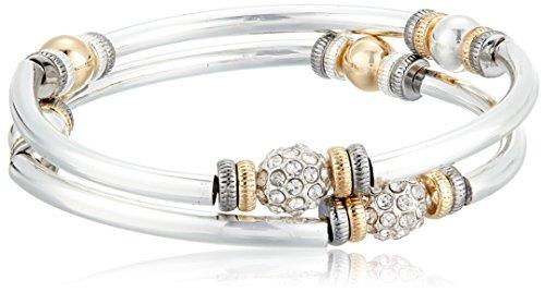 NINE WEST Women's Tri Tone Bangle Bracelet