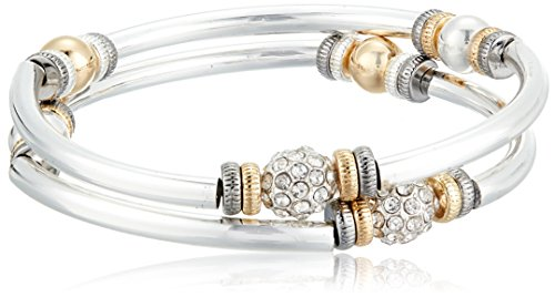 NINE WEST Tri-Tone and Crystal Set of 2 Bangle Bracelet
