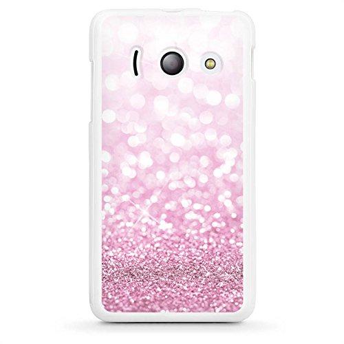 DeinDesign Silikon Hülle kompatibel mit Huawei Ascend Y300 Hülle weiß Handyhülle pink Glitzer Erscheinungsbild Glanz