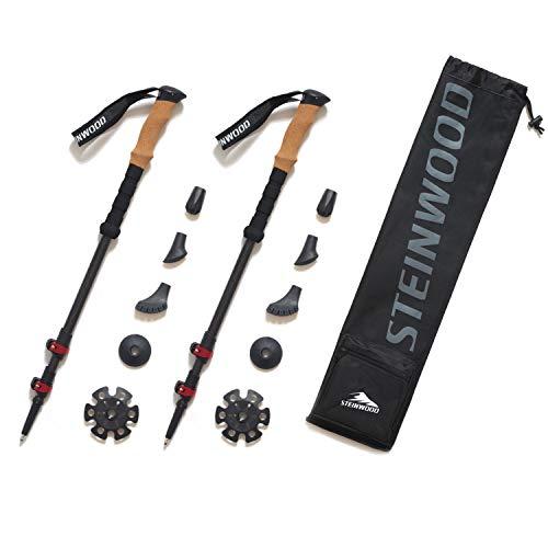 Steinwood Premium Carbon Wanderstöcke - Trekkingstöcke - verstellbar mit Teleskop und Klemmverschluss mit extra Gummipuffer