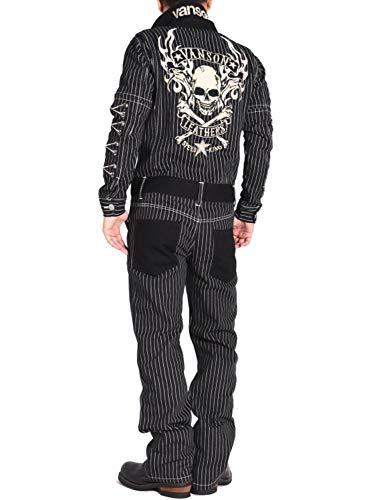 【当店別注】 (バンソン) VANSON ツナギ つなぎ フライングファイアースカル 刺繍&ワッペン 袖脱着式 デニム オールインワン JFV-902-WABASH (S, ウォバッシュ×ブラック)