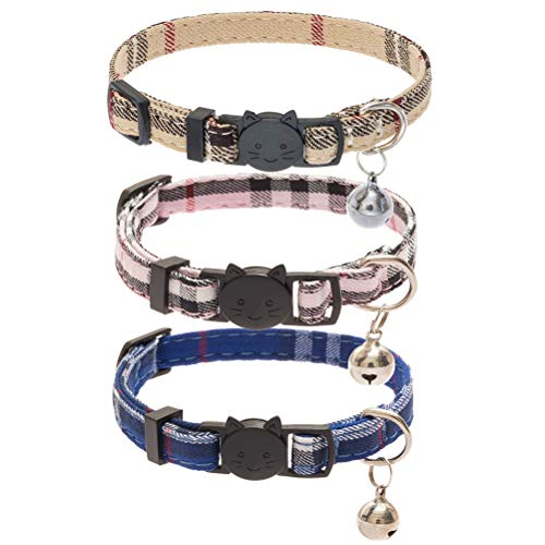 CHOLEGIFT Kitty 3 pcs Plaid Collar with Bell-Fit...