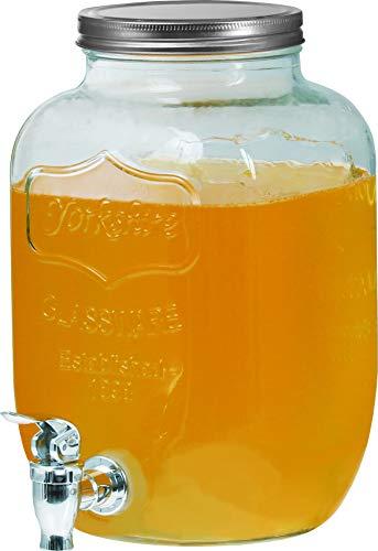 Clic-And-Get Getränkespender Getränkespender mit Hahn 4L 5L 8L Glas Enjoy Zapfhahn Wasserspender Limonadenspender Saftspender Dispenser Trinkspender (4 Liter, Glance Spender)