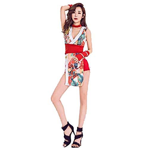 Traje de Discoteca de Bar Sexy Retro Wind Cheongsam Cantante Mujer Traje de Rendimiento Blanco S