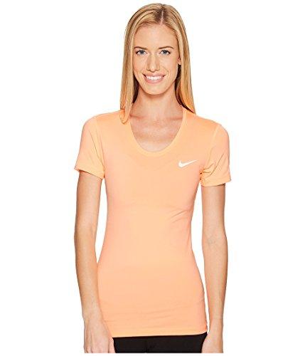 NIKE W NP Top SS Camiseta, Mujer, Naranja (Sunset Glow/White), M