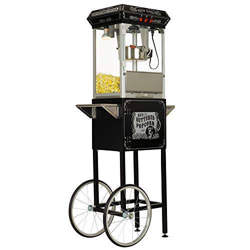 Review Funtime Sideshow Popper 8-Ounce Hot Oil Popcorn Machine with Cart, Black/Silver