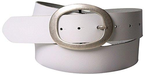 Fronhofer Ceinture de 4 cm, Boucle de ceinture ovale argentée, Cuir de vachette 17611, Taille:Taille 90 cm, Couleur:Blanc