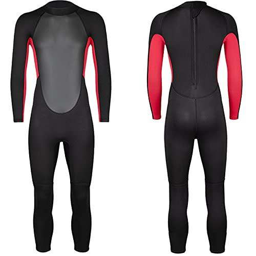 FR&RF Traje de neopreno para mujer de 3 mm con cremallera trasera para verano, traje de baño largo de una pieza súper elástico de manga larga de una pieza, color negro, M