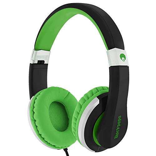 ROCKPAPA I22 Foldable Adjustable On Ear Headphones with Microphone for Kids/Adults, Laptop Tablet MP3/4 DVD Mobile in Car/Airplane Black/Green