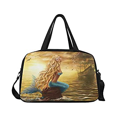 InterestPrint Sea Beautiful Mermaid Duffel Bag Travel Tote Bag Handbag Luggage
