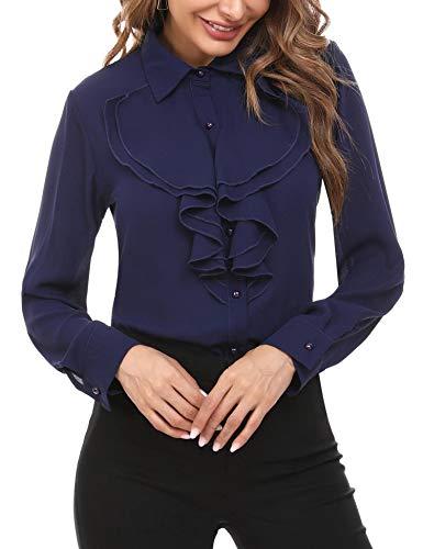 Irevial Damen Elegant Business Chiffonbluse Schluppenshirt T-Shirt mit Einfarbig Langarmshirts Knöpfen Festlich Tops