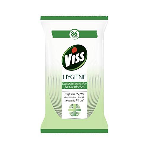 Viss Hygiene Desinfektionstücher für Oberflächen Citrus entfernt 99,9{2a0cf6c4a0c6c5fd552bd248217baf36c883605fd9ee8ed487e5ab7eb4260a02} der Bakterien für keimfreie Sauberkeit 36 Tücher 1 Packung