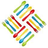 Plaskidy Plastic Toddler Utensils Set 8 Kids Forks and 8 Kids Spoons - BPA Free/Dishwasher Safe Toddler Silverware Brightly Colored Kid Plastic Cutlery Set, Great for Kids and Toddlers Utensils