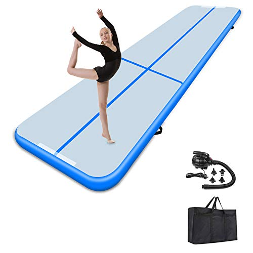 Air Track Mat 20ft 4 in Thick Gymnastics Tumbling Mats Inflatable Tumble Track with Electric Air Pump for Home Use Gym Yoga Cheerleading Outdoor Beach Park