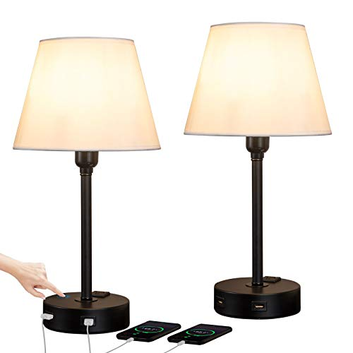 ZEEFO Touch Control Table Lamp Built in Dual USB Ports & AC Outlet, White Fabric Shade 3 Way Dimmable USB Nightstand Lamp,Two Edison LED Bulbs Included Bedside Lamps for Bedroom, Living Room (2 Pack)