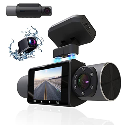 """Aolbea 3 Channels Dash Cam with IR Night Vision FHD 1080P Front 720P Inside Cabin and 720P Rear Dash Camera Wide Angle Lens WDR 2.0"""" LCD G-Sensor Loop Recording Optional GPS for Cars Taxi."""