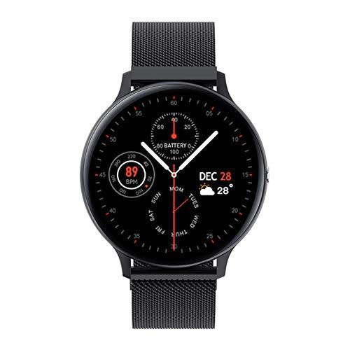Reloj inteligente para hombre con Bluetooth, llamadas, música, fitness, pulsera inteligente, IP68 Full Touch Sport Digital para Android IOS (color de acero negro)