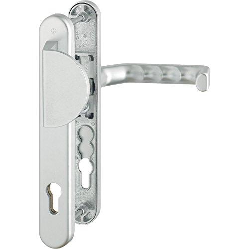 HOPPE Wechselgarnitur Liverpool | PZ 92 mm| Haustür-Garnitur | Schmalschild | silber | Drücker-Griffplatte