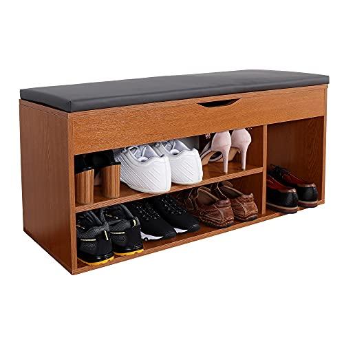 RICOO WM034-ER-A Banco Zapatero 104x49x30cm Armario Interior con Asiento Organizador Zapatos Mueble recibidor Perchero Madera Roble marrón