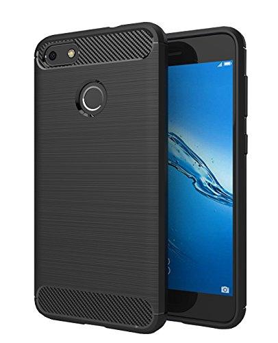 Huawei P9 Lite Mini Hülle, SMTR Ultradünn Weich Silikon Schutzhülle [Advanced Shock Absorption Technology][Schutz vor Stürzen und Stößen] für Huawei P9 Lite Mini - schwarz