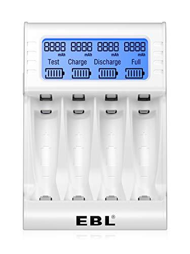 EBL Akku Ladegerät Schnell Akkuladegerät LCD-Display Universal Batterieladegerät für AA/AAA NI-Mh Akkus mit Entladungsfunktion, Batteriekapazität testen,4-Slot