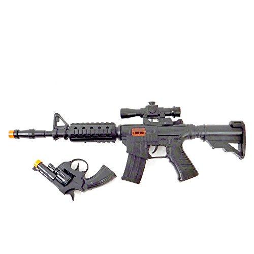 Fucile con suoni, 48 cm, e pistola. Fucile e pistola giocattolo Fucile con suoni, 48 cm, e pistola. Set di fucile con effetti sonori di 48 cm e una pistola Set di fucile con effetti sonori di 48 cm e una pistola