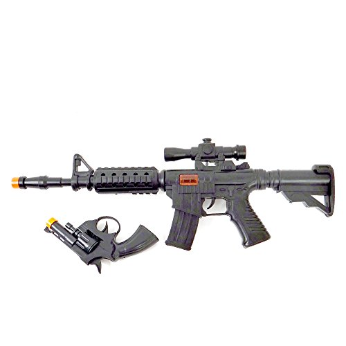 Wonder Kids WDK Partner A1100048 Verkleidungszubehör – Gewehr mit Geräusch und Pistole