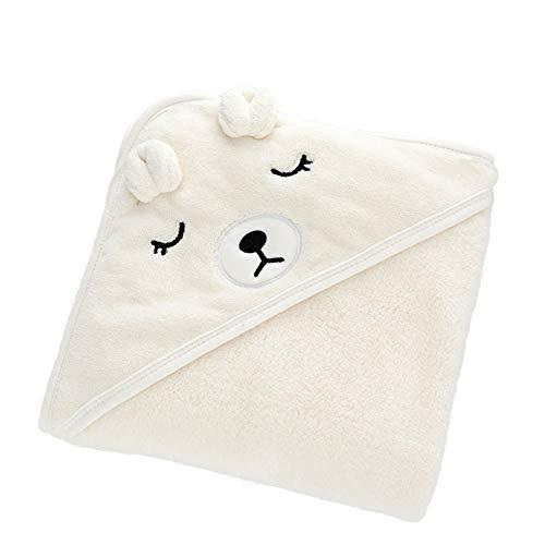 WangsCanis Asciugamani con Cappuccio per Neonati, Asciugamano da Bagno Super Morbido Avvolgente per Dormire per Neonati (Orso, Taglia Unica)