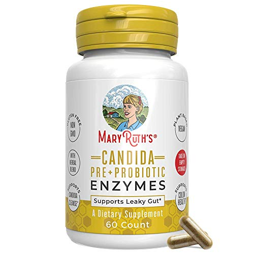 Candida Detox Cleanse (3-in-1) Enzymes + Probiotic + Prebiotic Vegan Support by MaryRuth's - Extra Strength - Supports Healthy Digestion - Yeast & Candida Overgrowth - Candidase - Non GMO - 60ct