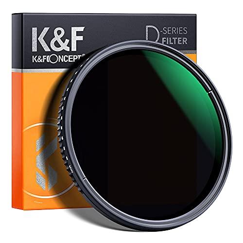 K&F Concept Variabler Graufilter 77mm Variable ND Filter ND8-2000 (3-11 Stop) Neutral Dichte Graufilter