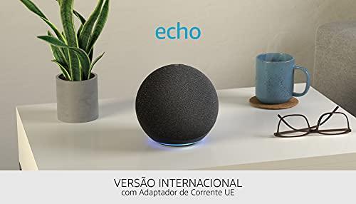 Nuevo Echo (4.ª generación), versión internacional | Sonido de alta calidad, controlador de Hogar digital integrado y Alexa | Antracita | No disponible en portugués (Portugal)