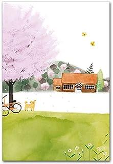 ワタナベサチコポストカード「小学校と桜の木」