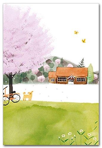 『ワタナベサチコポストカード「小学校と桜の木」』の1枚目の画像