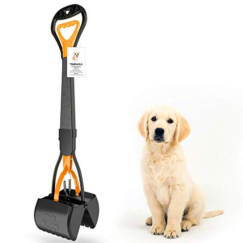 """TIMINGILA 28"""" Long Handle Pet Pooper Scooper for Dogs and Cats with High Strength Material and Durable Spring Easy to Use for Grass, Dirt, Gravel Pick Up (Green)"""