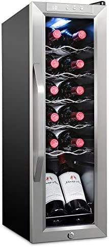 Ivation 12 Bottle Compressor Wine Cooler Refrigerator w Lock Large Freestanding Wine Cellar product image