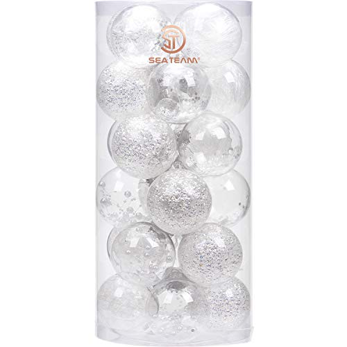 Sea Team 70mm/2.76' Shatterproof Clear Plastic Christmas Ball Ornaments Decorative Xmas Balls Baubles Set with Stuffed Delicate Decorations (24 Counts, White)