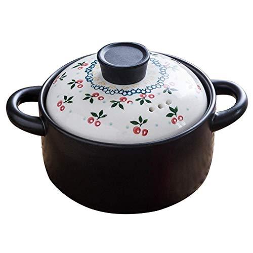 WYKDL Natur glasiertem Ton Cooker Runde Casserole Restaurant Kochen Curry Auflauf Zwei-Ear-Design Easy-to-clean Steintopf Geschenk Größe: ca.3500ml
