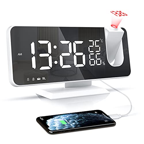 Projektionswecker, Digital Wecker mit Projektion, Radiowecker mit USB-Ladeanschluss, Snooze-Doppelwecker, LED-Spiegelbildschirm, Einstellbare Helligkeit, Temperatur- und Luftfeuchtigkeitsanzeige,Weiß