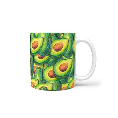 CCMugshop - Taza de café de cerámica divertida con diseño de caricatura verde aguacate con fruta, impresión creativa en color blanco para tazas de té y cacao, regalo para familia y amigos, 330 ml