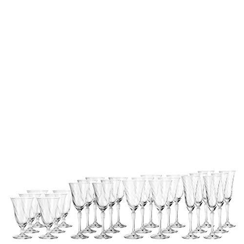 Leonardo Volterra Kelch-Glas Set, Wein-, Sekt- und Wasser-Gläser, spülmaschinengeeignete Trink-Gläser, 24er Set, 032819